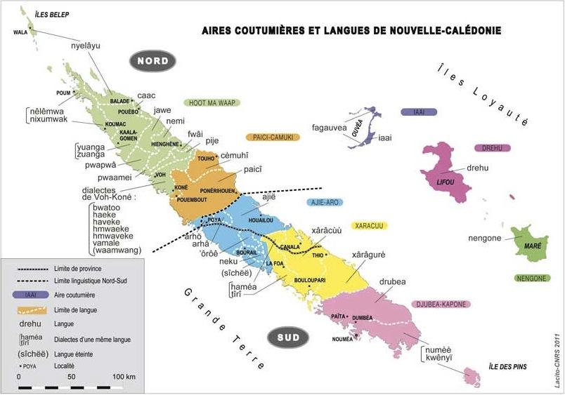 Carte des langues kanak et des aires coutumières (LACITO-CNRS, 2011).